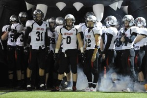 Leopard players wait inside the leopard head prior to the Wylie East game.