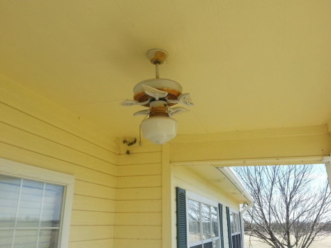 Even the outdoor ceiling fan was damaged in the storm.