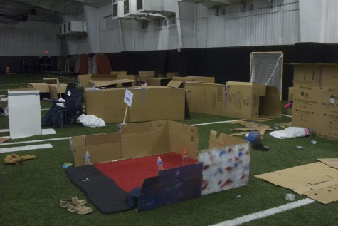 Students from all grade levels brought cardboard boxes into the indoor facility to raise awareness for homelessness.  This was the annual Cardboard Box City organized by the Lovejoy Key Club.
