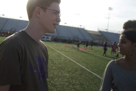Sophomore Ian Raybon speaks with his team prior to Relay for Life regarding ways they can raise money throughout the night on Friday, April 11, 2014.