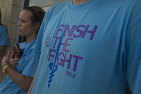 The Relay for Life shirts show that the event is to Finish the Fight against cancer on Friday, April 11, 2014.