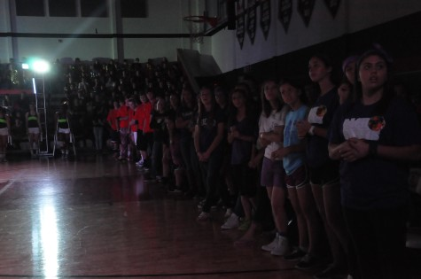 Athletes from all different sports look on towards the home stands during the Lovejoy Black Light Pep Rally on April 11, 2014.