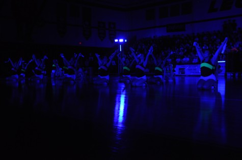 The Majestics show their nationally recognized routine during the Black Light Pep Rally Friday, April 11, 2014.