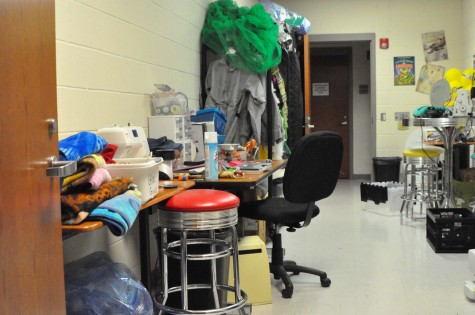 The sweing room is used to create costumes for school plays.