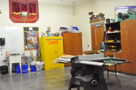The shop room is the place that sets are created for the productions put on by theatre.